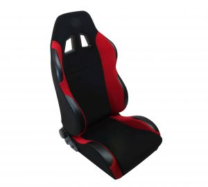 Racing SP Style Seat 1pc Fabric – Black/Red (Double Adjust/slider) (1PC)