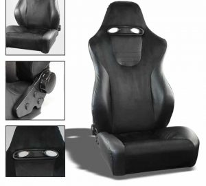 Racing SRT Style Seat 1pc Suede/PVC – Black/Black (Double Adjust/slider) (1PC)