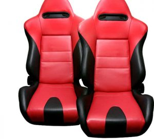 Racing Thunder Style Seat 1pc PVC – Red/Black (Double Adjust/slider) (1PC)