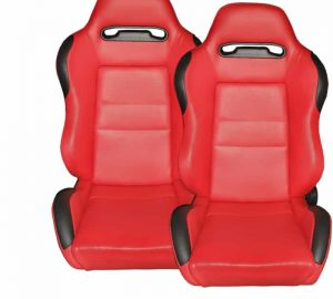 Racing Type R Seat 1pc PVC – Red/Red (Double Adjust/slider) (1PC)