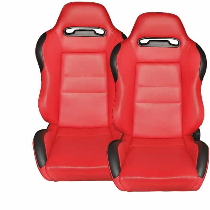 Racing Type R Seat 1pc PVC - Red/Red (Double Adjust/slider) (1PC)