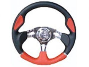6 Hole Custom Steering Wheel – Red, Black, Chrome Center