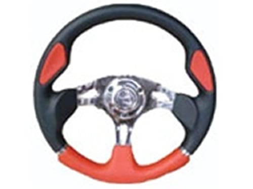 6 Hole Custom Steering Wheel - Red, Black, Chrome Center