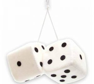 3″ Hanging Fuzzy Dice (PAIR) – White