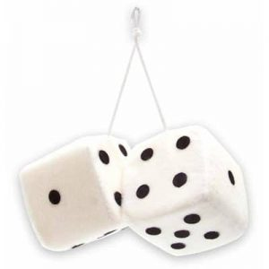3″ Hanging Fuzzy Dice (PAIR) – White