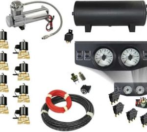 Air Management System (8 Independent Brass Air Valve Kit w/Compressor, Tank, Switches and Gauges) – 4 Corners