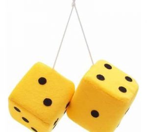 3″ Hanging Fuzzy Dice (PAIR) – Yellow
