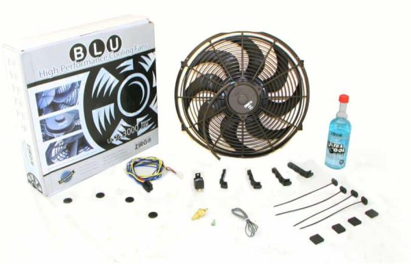 Super Cool Pack with Two 1248 fCFM 12″ Fans, Fixed Temp Switch, Harness, and Brackets and Additive