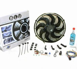 Super Cool Pack with Two 1229 fCFM 12″ S Blade Fans, Fixed Temp Switch, Harness, and Brackets and Additive.