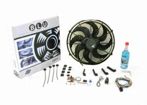 Super Cool Pack with Two 2122 fCFM 14″ S Blade Fans, Fixed Temp Switch, Harness, and Brackets and Additive.