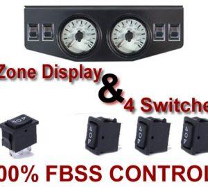 Dual Air Pressure Gauge Panel & 4 Switches – 200psi