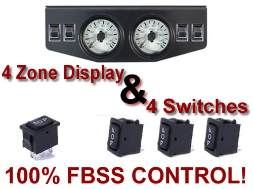 Dual Air Pressure Gauge Panel & 4 Switches - 150psi