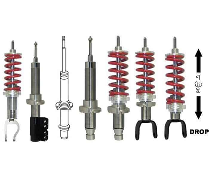 2010-2018 NISSAN FRONTIER Adjustable Lowered Coilover Struts - (1 to 3 inches)