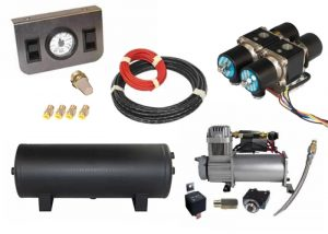 Mini Air Management System (4 Valve Air Manifold Kit w/Compressor, Tank, Switches and Gauges) – 2 Corners