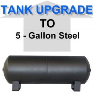 5 Gallon Powder Coated Black Steel Air Suspension Tank **UPGRADE**