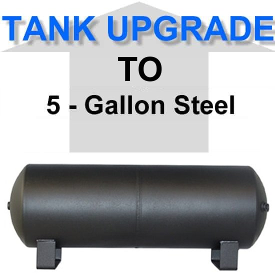5 Gallon Powder Coated Black Steel Air Suspension Tank **UPGRADE**