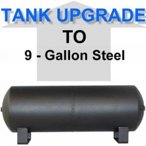 9 Gallon Powder Coated Black Steel Air Suspension Tank **UPGRADE**