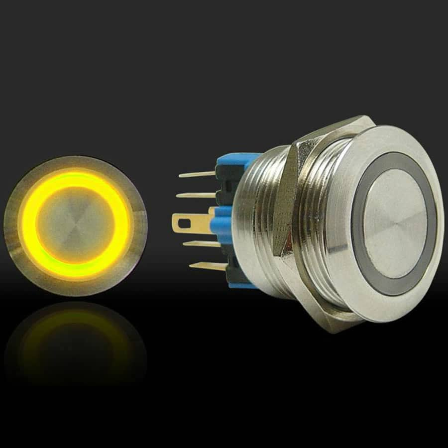 Momentary Billet Button/Switch with Yellow LED Ring (22mm)