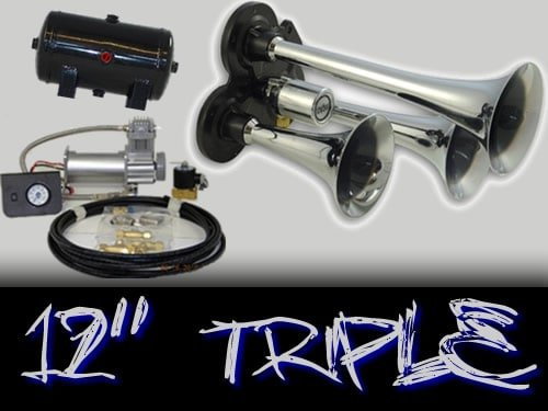 "12"" Quad Complete Train Truck Air Horn Kit"