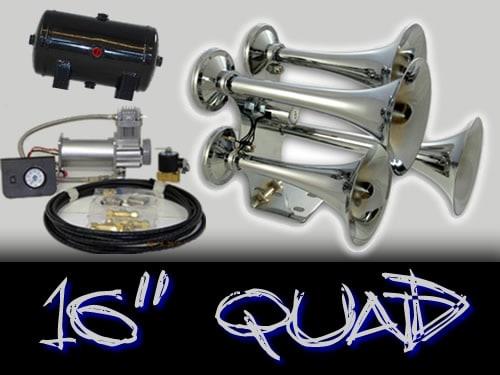 "16"" Quad Complete Train Truck Air Horn Kit"