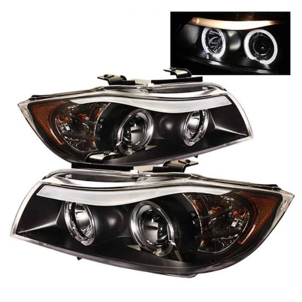 2006-2008 BMW E90 3-Series 4DR HALO Projector Headlights with Amber Eyebrow (Replaceable Eyebrow Bulbs) - Black