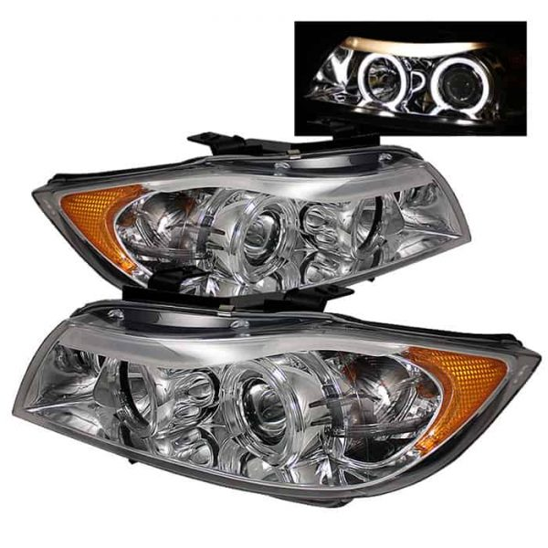 2006-2008 BMW E90 3-Series 4DR HALO Projector Headlights with Amber Eyebrow (Replaceable Eyebrow Bulbs) - Chrome