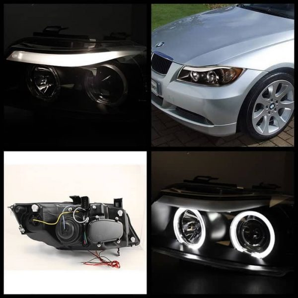 2006-2008 BMW E90 3-Series 4DR CCFL Projector Headlights with Amber Eyebrow (Replaceable Eyebrow Bulbs) - Black