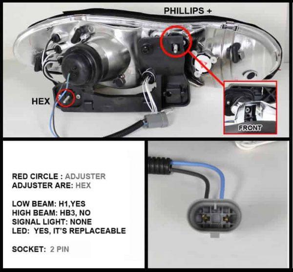 1998-2002 Chevy Camaro CCFL LED Projector Headlights - Chrome