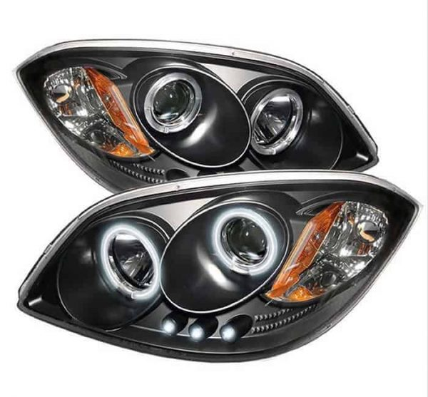 2005-2010 Chevy Cobalt CCFL Halo LED Projector Headlights - Black