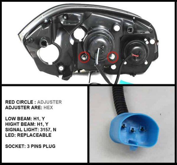 2005-2010 Chevy Cobalt CCFL Halo LED Projector Headlights - Chrome
