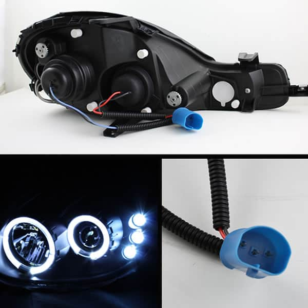 2000-2002 Dodge Neon Halo LED Projector Headlights (Replaceable LED's) - Black