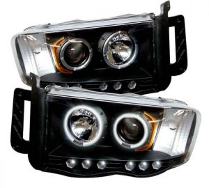 2002-2005 Dodge Ram CCFL Halo LED Projector Headlights (Replaceable LED's) - Black