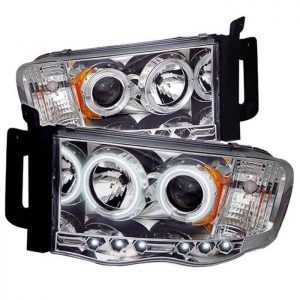 2002-2005 Dodge Ram CCFL Halo LED Projector Headlights (Replaceable LED's) - Chrome