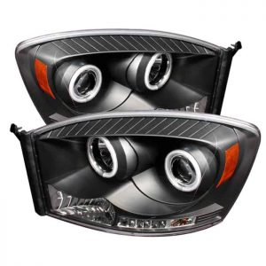 2006-2008 Dodge Ram CCFL Halo LED Projector Headlights (Replaceable LED's) - Black