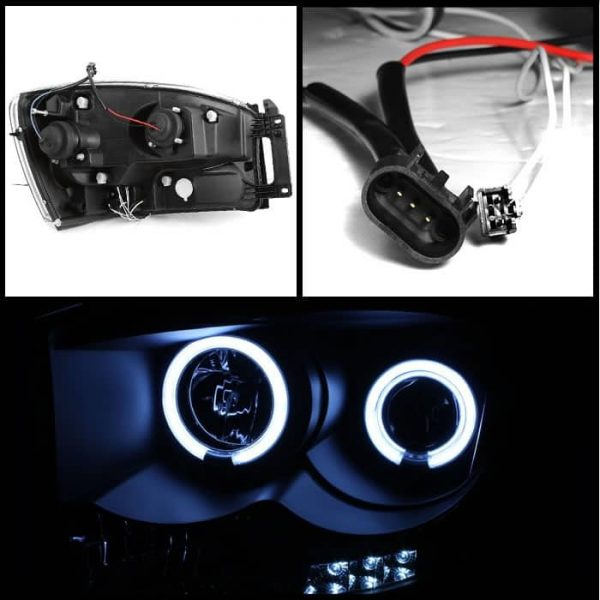 2006-2008 Dodge Ram Halo LED Projector Headlights (Replaceable LED's) - Black