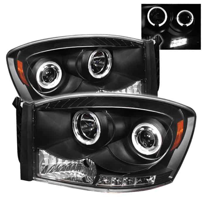 2006-2008 Dodge Ram Halo LED Projector Headlights (Replaceable LEDs) - Black