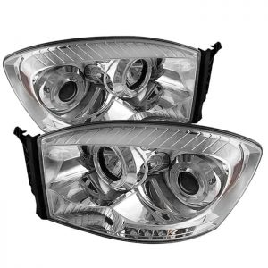 2006-2008 Dodge Ram Halo LED Projector Headlights (Replaceable LED's) - Chrome