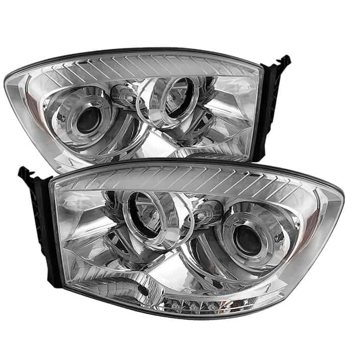2006-2008 Dodge Ram Halo LED Projector Headlights (Replaceable LEDs) - Chrome