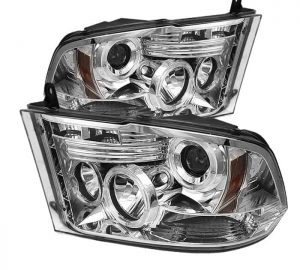 2009-2014 Dodge Ram 1500, 2500, 3500 Halo LED Projector Headlights (Halogen Model Only - Not Compatible with Factory Projector or LED DRL) - Chrome
