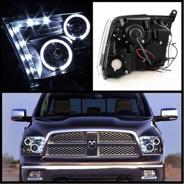 2009-2014 Dodge Ram 1500, 2500, 3500 Halo LED Projector Headlights (Halogen Model Only - Not Compatible with Factory Projector or LED DRL) - Black