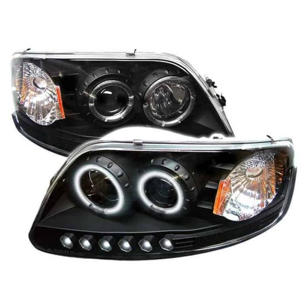 1997-2003 Ford F150, Expedition 1PC CCFL LED Halo Projector Headlights w/Amber Reflector (Will Not Fit Manufacture Date Before 6/1997) (Replaceable LEDs) - Black