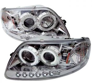 1997-2003 Ford F150, Expedition 1PC CCFL LED Halo Projector Headlights w/Amber Reflector (Will Not Fit Manufacture Date Before 6/1997) (Replaceable LEDs) - Chrome