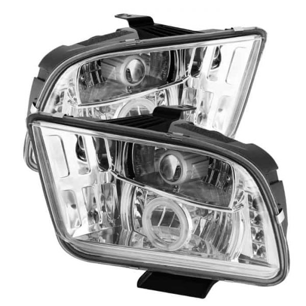 2005-2009 Ford Mustang CCFL Halo Projector Headlights (Halogen Model Only - Not Compatible With Xenon/HID Model) - Chrome