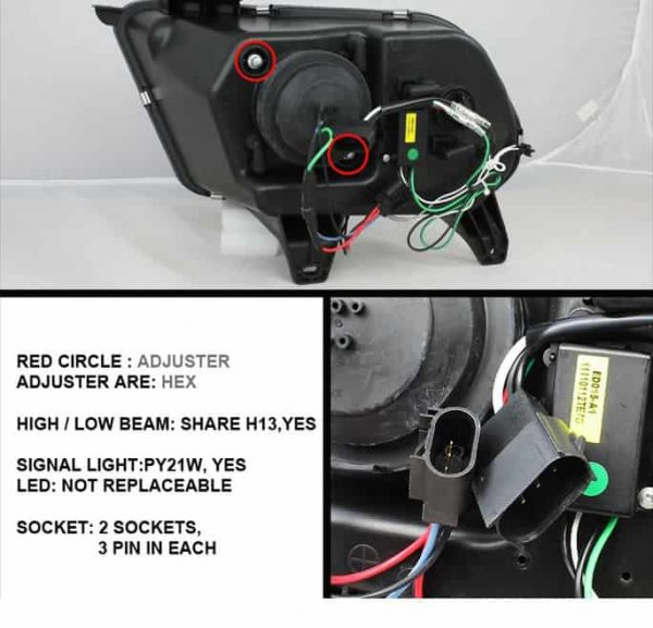 2010-2013 Ford Mustang LED Halo, DRL Projector Headlights (Halogen Model Only - Not Compatible With Xenon/HID Model) - Chrome