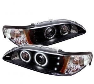 1994-1998 Ford Mustang 1PC CCFL Halo Projector Headlights (Replacable LEDs) - Black