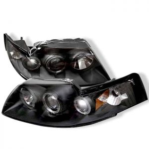 1999-2004 Ford Mustang LED Halo Projector Headlights - Black