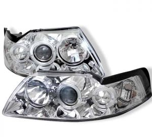 1999-2004 Ford Mustang LED Halo Projector Headlights - Chrome