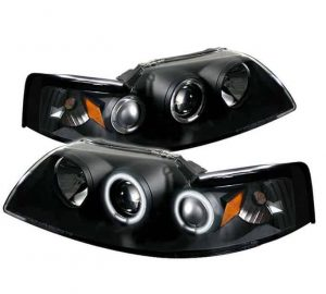 1999-2004 Ford Mustang CCFL Halo Projector Headlights - Black
