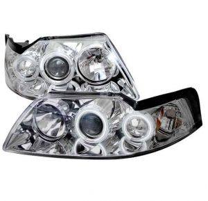 1999-2004 Ford Mustang CCFL Halo Projector Headlights - Chrome