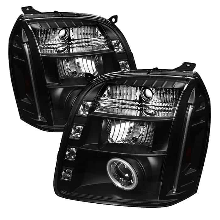 2007-2014 GMC Yukon, Denali, XL CCFL LED Projector Headlights (Replaceable LEDs) - Black